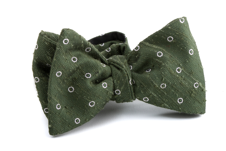 Self tie Shantung Polka - Green/White