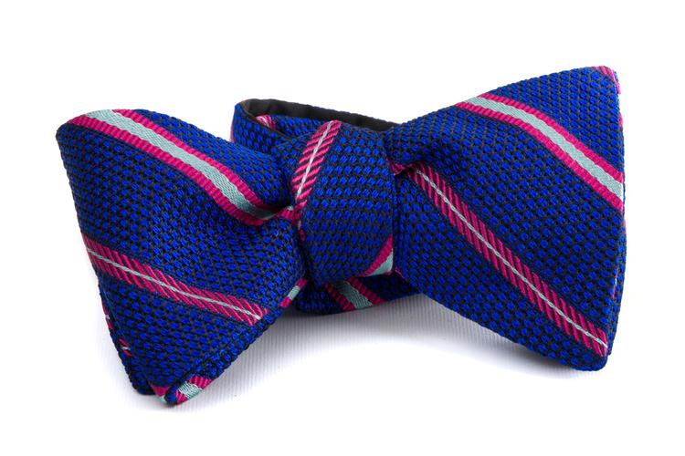 Self tie Grenadine Regimental - Mid Blue/Pink/White