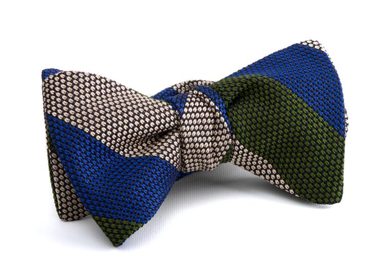 Self tie Grenadine Regimental - Mid Blue/Grey/Green