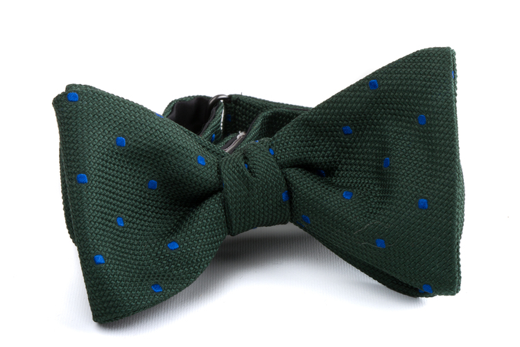 Self tie Grenadine Polka Dot - Green/Mid Blue