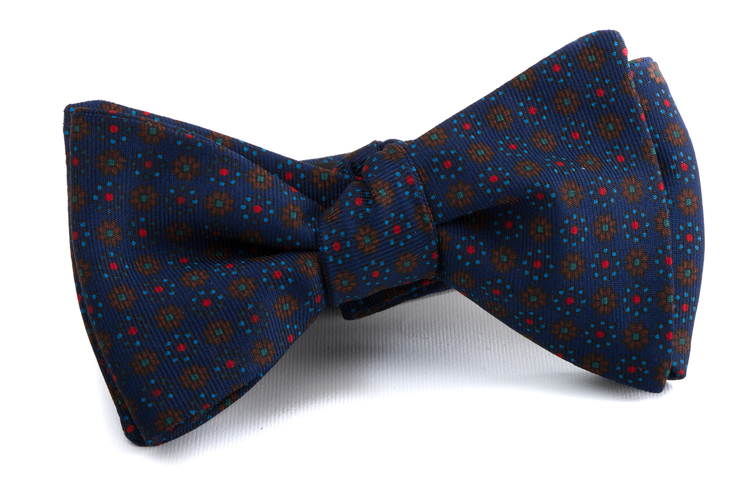 Self tie Silk Floral - Brown/Navy Blue/Red