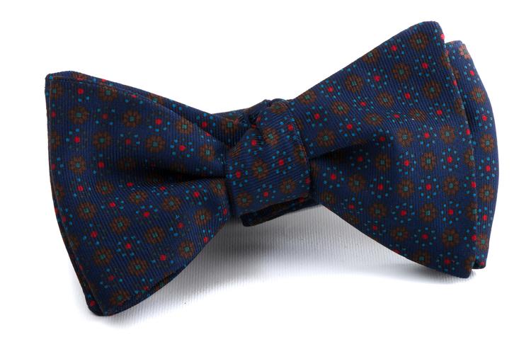 Self tie Silk Floral - Brown/Navy Blue/Red