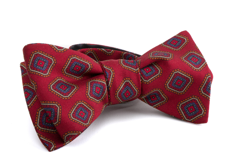 Self tie Silk Medallion - Red/Light Blue