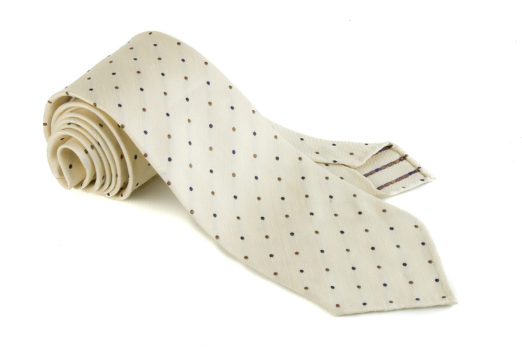 Silk Polka Dot Untipped - Creme/Brown