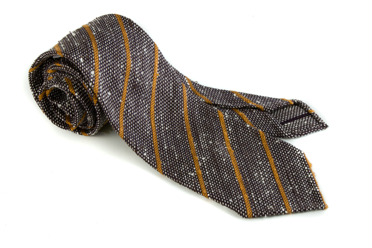 Regimental Shantung Grenadine Tie - Untipped - Brown/White/Orange