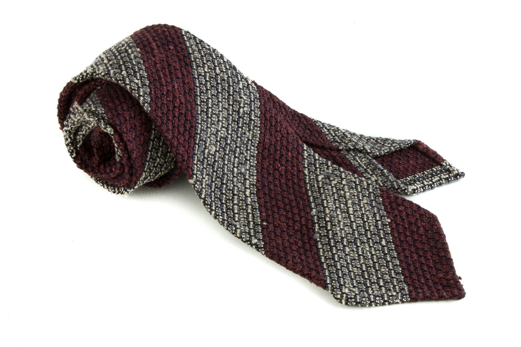 Regimental Shantung Grenadine Tie - Untipped - Grey/Burgundy