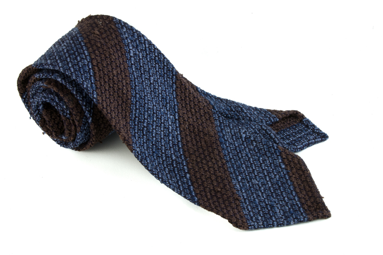 Regimental Shantung Grenadine Tie - Navy Blue/Brown
