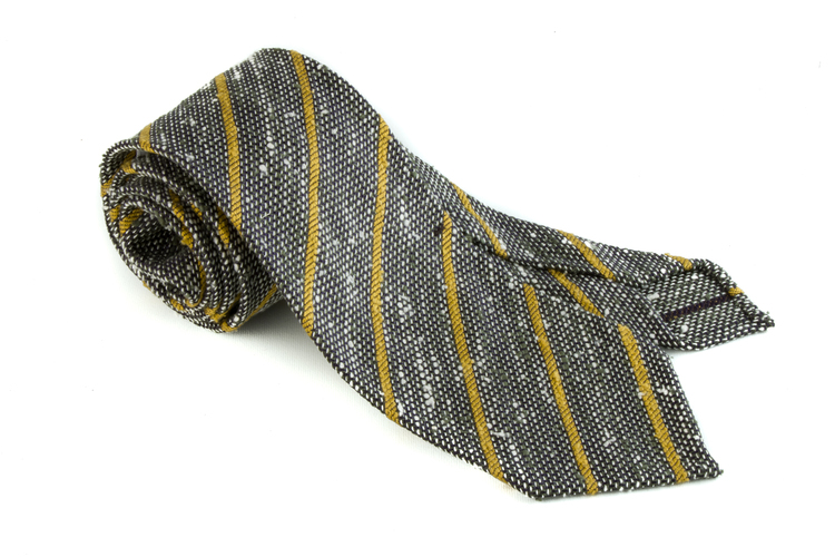 Regimental Shantung Grenadine Tie - Untipped - Navy Blue/White/Yellow