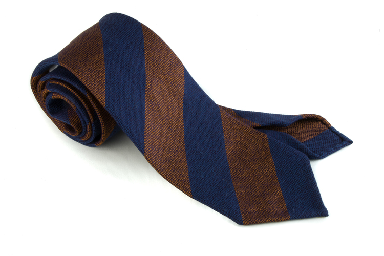 Wool/Silk Untipped Regimental - Navy Blue/Rust