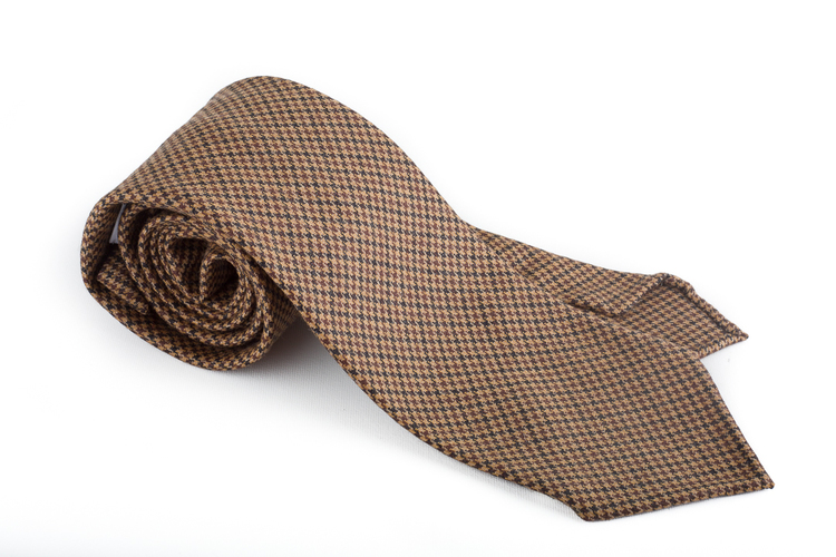 Houndstooth Wool Untipped Tie - Beige/Brown
