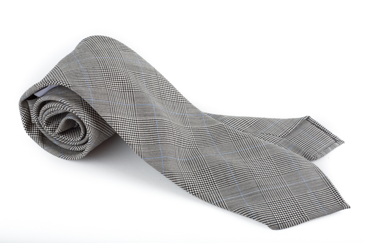 Glencheck Light Wool Tie Untipped - Grey