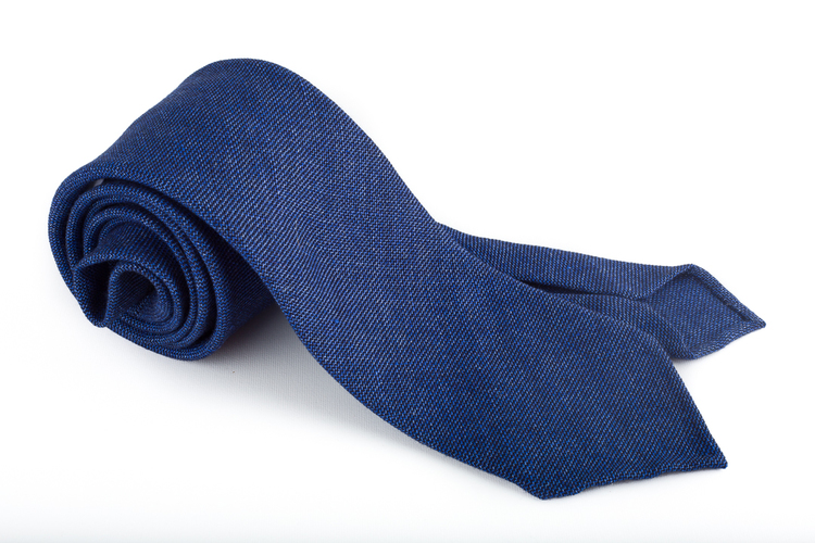Solid Wool Untipped Tie - Mid Blue
