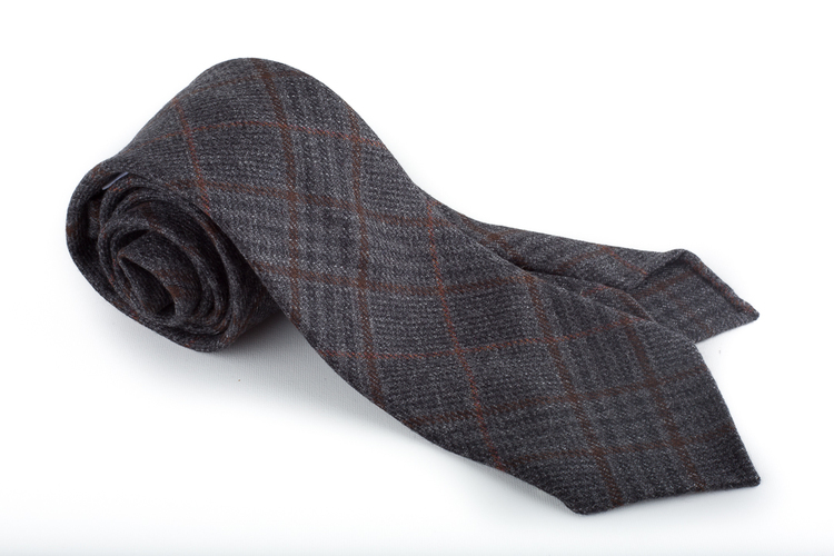 Plaid Wool Untipped Tie - Dark Grey/Brown