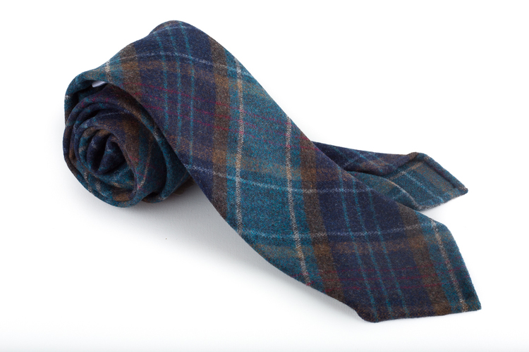 Wool Untipped Plaid - Navy Blue/Petrol/Brown