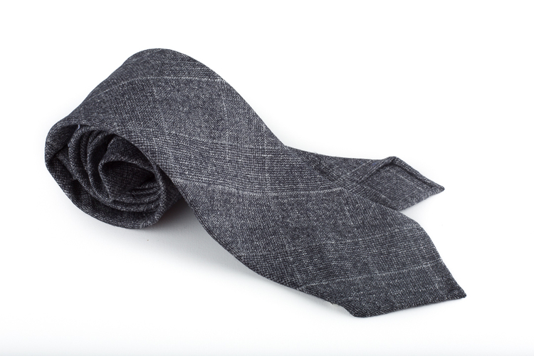 Plaid Wool Untipped Tie - Dark Grey
