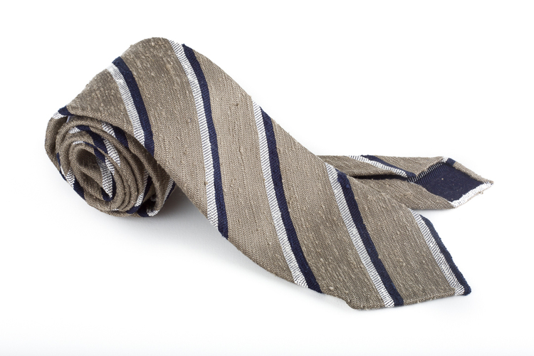 Shantung Regimental Untipped - Beige/Navy Blue/White