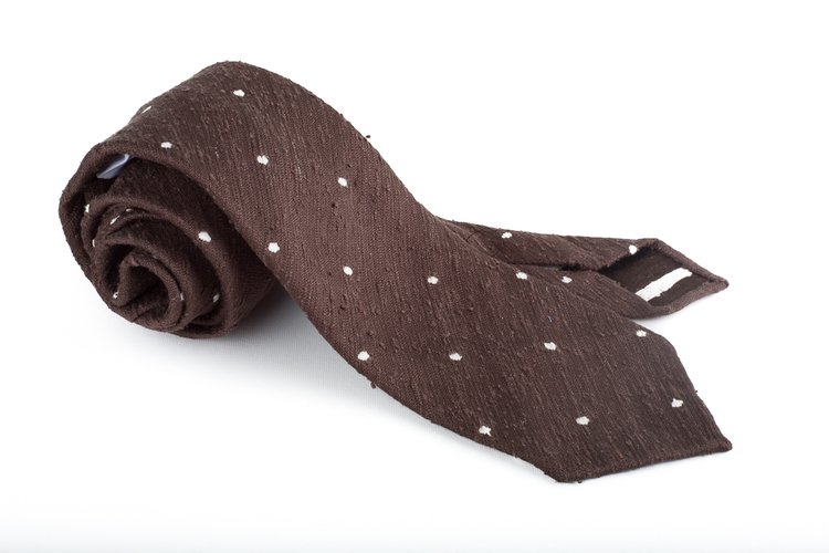 Shantung Polka Dot Untipped - Brown/White