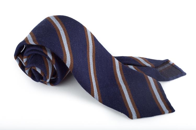 Wool Untipped Regimental - Navy Blue/Brown/Light Blue
