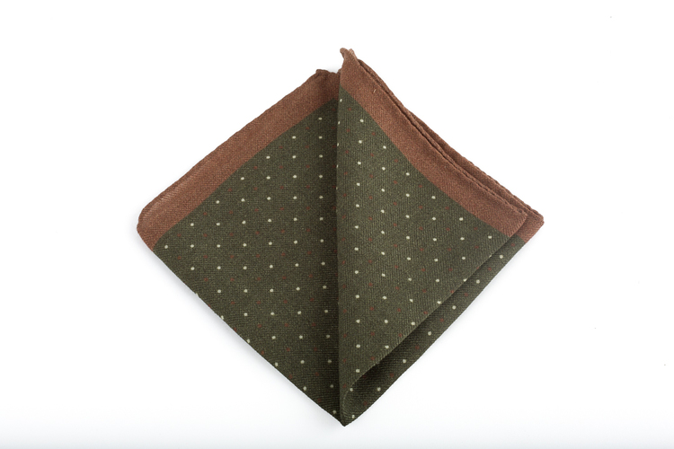 Pindot Wool Pocket Square - Green/Beige