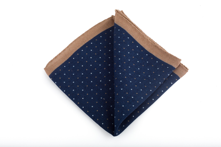 Pindot Wool Pocket Square - Navy Blue/Beige
