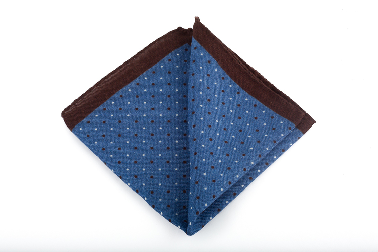 Wool Pin Dot - Light Blue/Brown