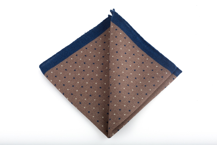 Pindot Wool Pocket Square - Beige/Navy Blue