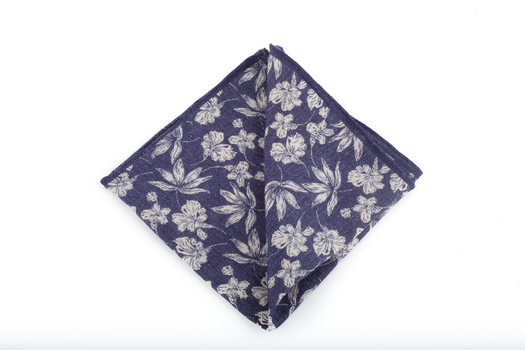 Cotton Floral - Navy Blue/White
