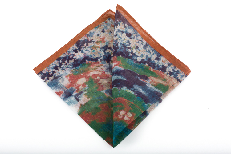 Cashmere/Cotton Batik - Rust Orange/Navy Blue/Light Blue/Green/White