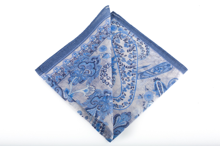 Cashmere/Cotton Paisley - Light Blue/Navy Blue/Off White