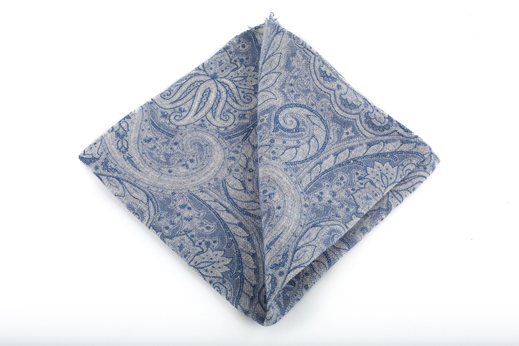 Linen Paisley - Navy Blue/Grey