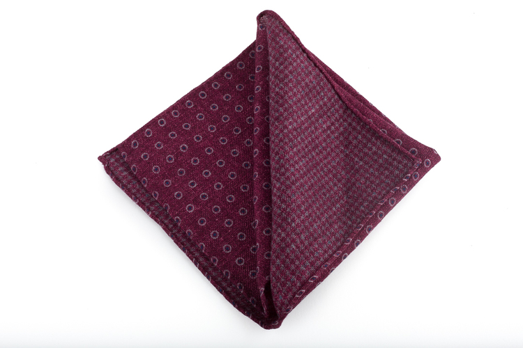 Wool Polka Dot/Dogtooth - Burgundy/Grey/Navy Blue