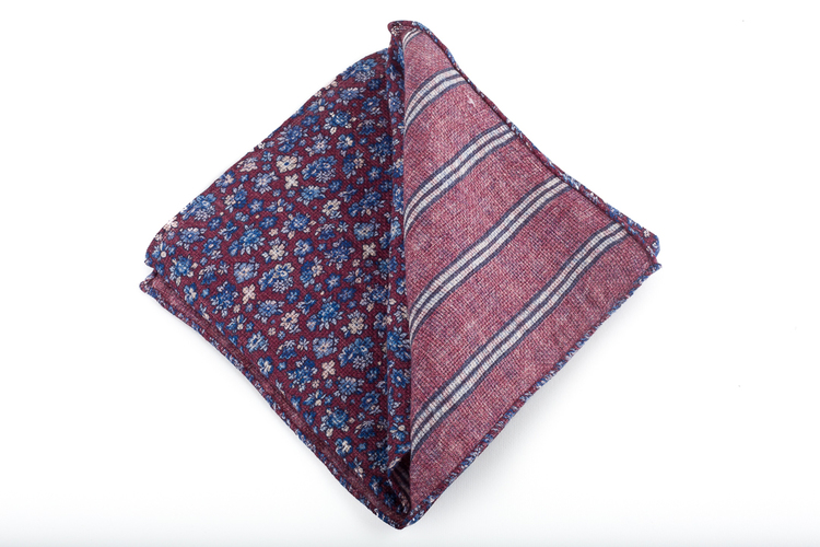 Wool Floral/Stripe - Burgundy/Light Blue/White