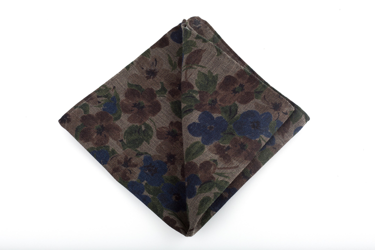 Wool Floral - Beige/Navy Blue/Green