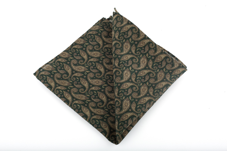 Wool Paisley - Green/Beige