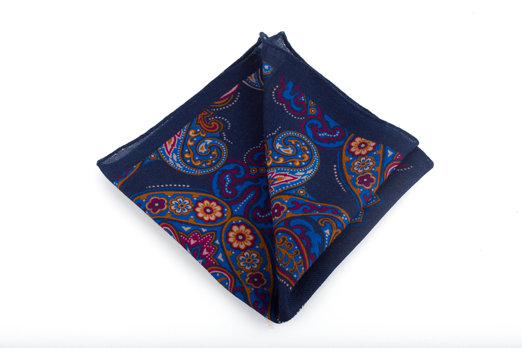 Wool Paisley - Navy Blue/Orange/Burgundy/Mid Blue