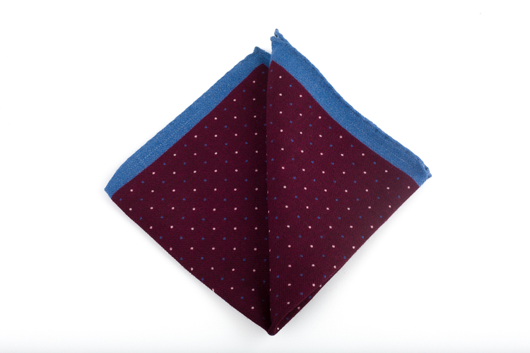 Pindot Wool Pocket Square - Burgundy/Light Blue/White