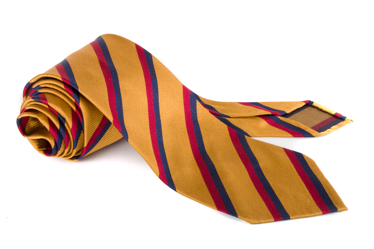 Silk Regimental Untipped - Yellow/Burgundy/Navy Blue