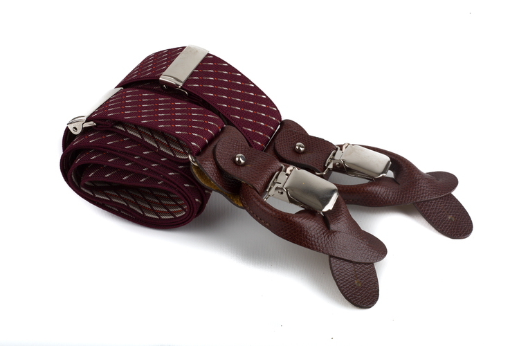 Suspenders Stretch - Burgundy/Yellow/White
