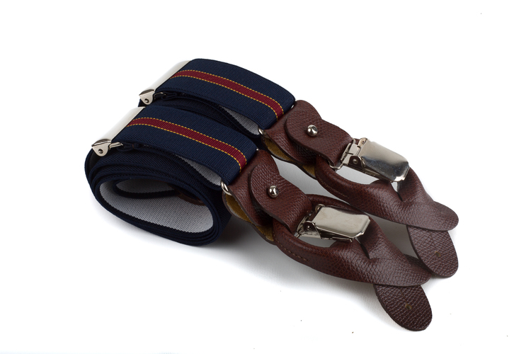 Suspenders Stretch - Navy Blue/Burgundy/Yellow