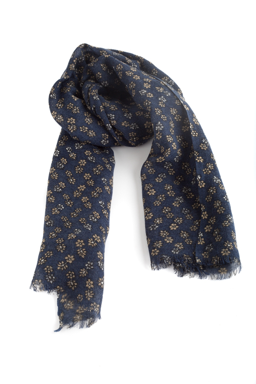 Wool Floral - Navy Blue/Yellow