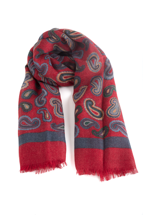 Wool Paisley - Red/Navy Blue/Light Blue/Beige