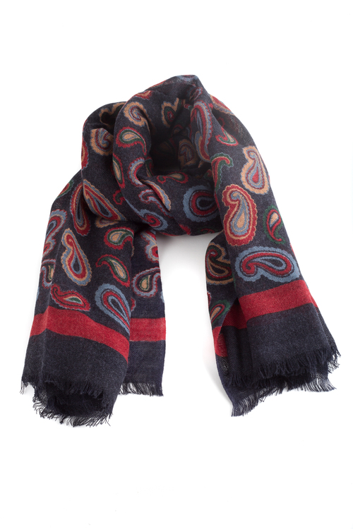 Wool Paisley - Navy Blue/Red/Light Blue/Beige