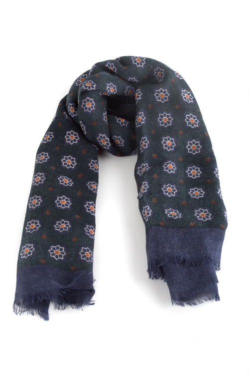 Wool Floral - Dark Green/Navy Blue/Orange