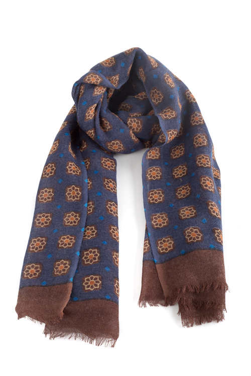 Wool Floral - Navy Blue/Brown/Orange