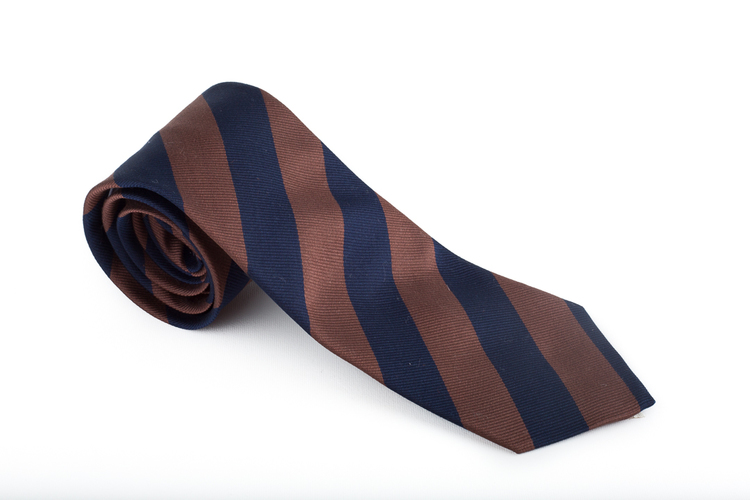 Silk/Cotton Regimental - Navy Blue/Brown