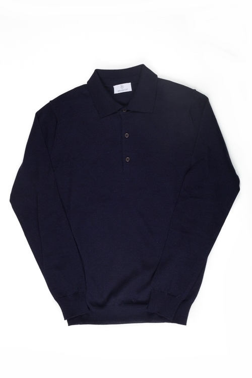Polo Merino Pullover - Navy Blue