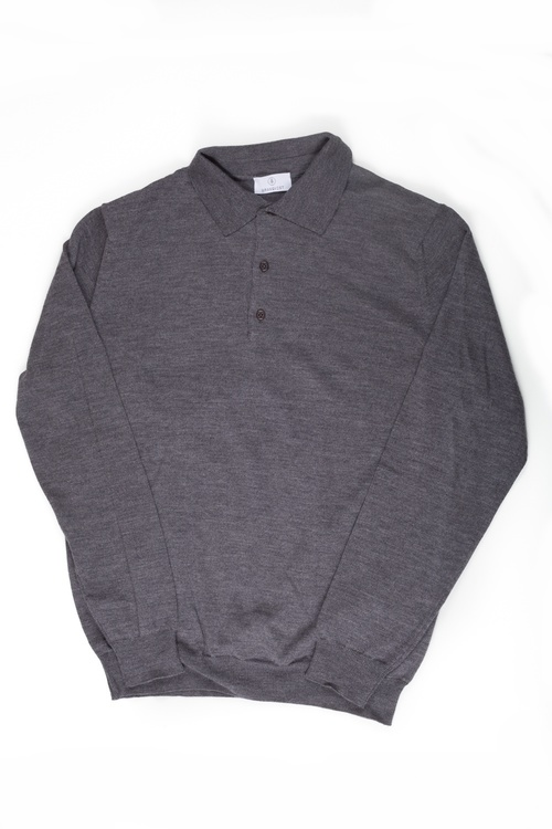 Polo Merino Pullover - Grey