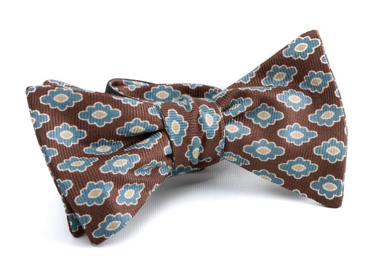 Self tie Silk Medallion - Brown/Light Blue/Beige