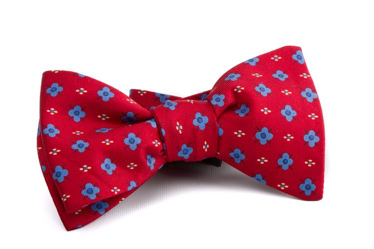 Self tie Silk Floral - Red/Light Blue/White