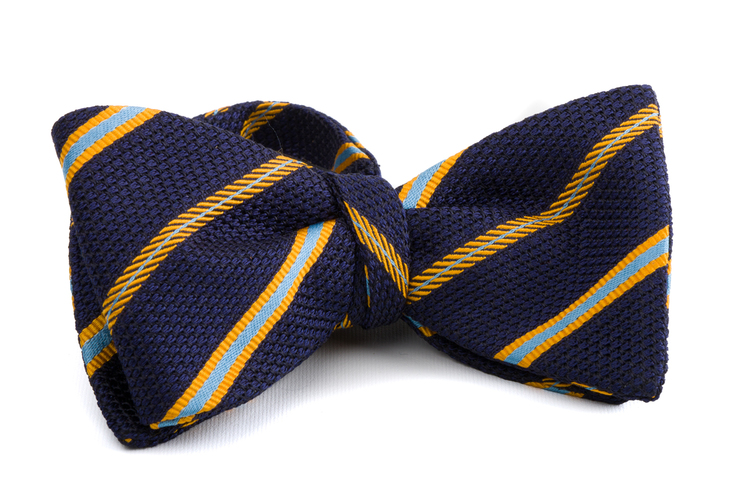 Self tie Grenadine Regimental - Navy Blue/Yellow/Light Blue